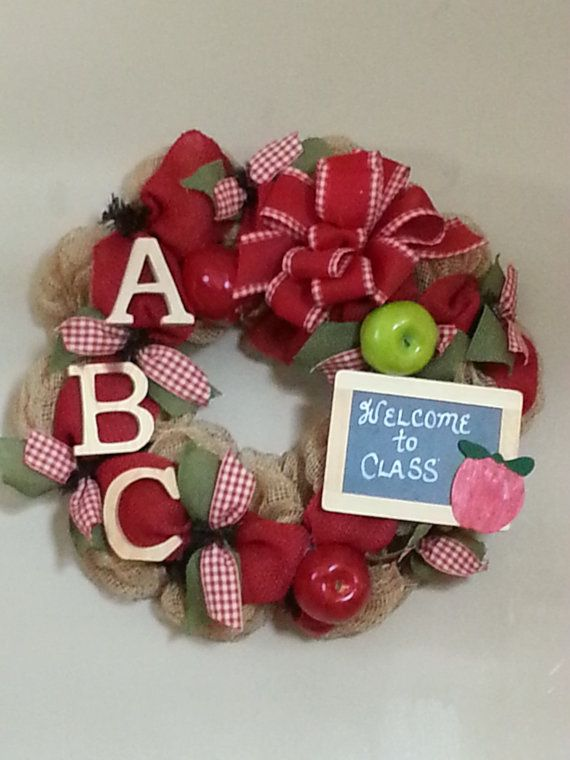 Burlap Paper Deco Mesh Teacher Wreath by tinasdecomeshwreaths, $85.00