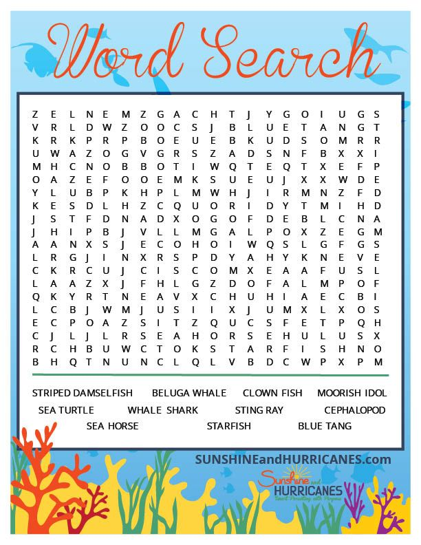 Dory, everyone's favorite blue tang, swam into kids hearts first in Finding Nemo and then in her own movie, Finding Dory. This Sea Creature wordsearch is inspired by the characters in these movies and would be a great activity for a Finding Dory Birthday Party, an Under the Sea party or even a homeschool sea creature study. Finding Dory Kids Word Search from SunshineandHurricanes.com