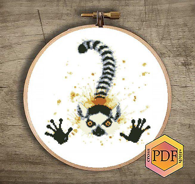Madagascar Lemur ~ Animals ~ DIY Counted Cross Stitch Pattern
