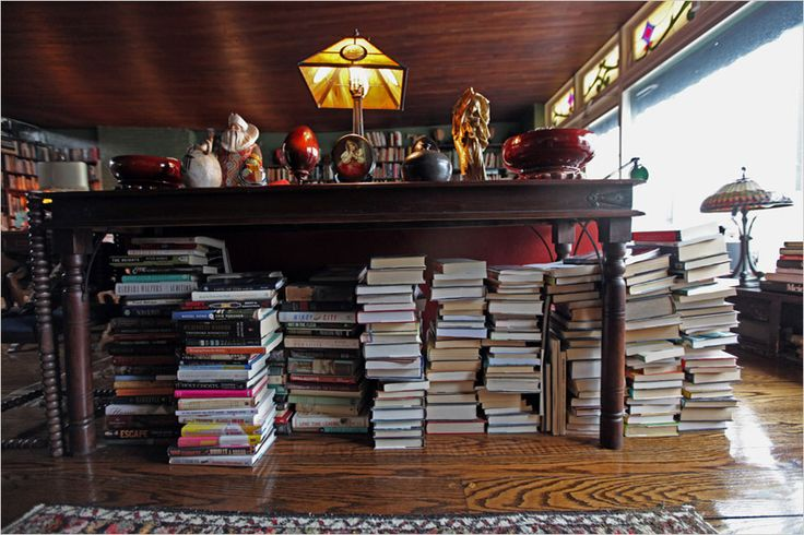 Stacks of books in Norman Mailer's apartment. Didn't love his writing, but I love this space. From NYTimes
