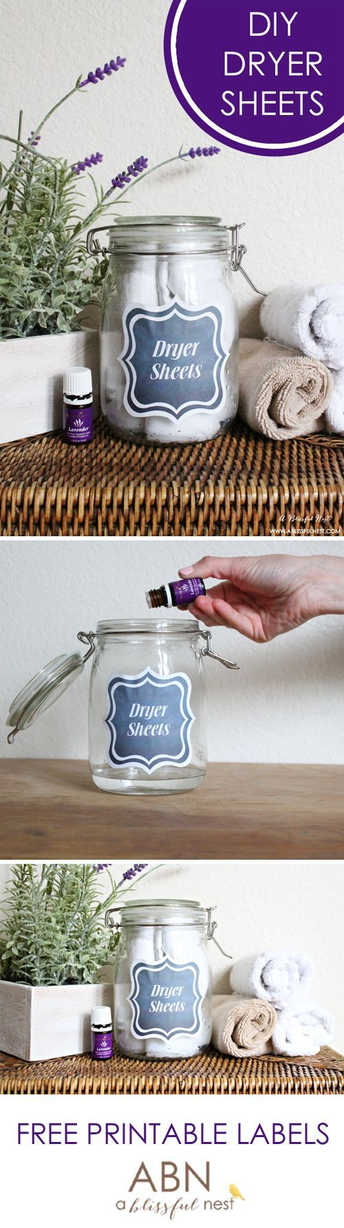 Homemade DIY Dryer Sheets! Love this all natural idea for laundry! It smells great and comes with free printable labels too. Fun!
