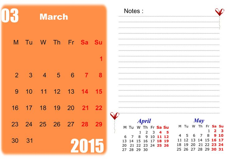 Best Collection of March 2015 Calendar with Notes. Cute March 2015 Calendar With Holidays Canada, UK, USA and Printable Pdf, Template, Design, Word, Excel, Doc.