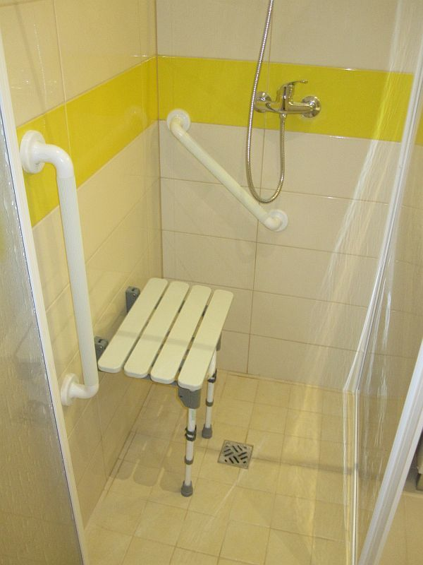 Shower designed for wheelchair access and use by the more infirm travellers. Also for those that like to take a rest whilst showering!!