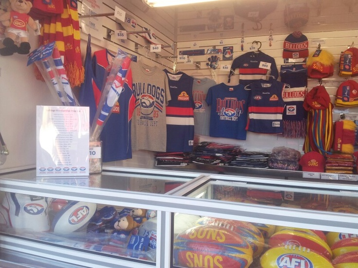 We travel too! Western Bulldogs Merchandise on sale at Metricon Stadium in Round 8 vs Gold Coast Suns.