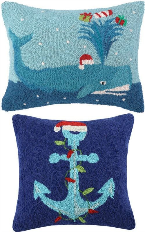 Nautical Santa Hat Pillows... http://www.completely-coastal.com/2016/12/beach-santa-decorations.html