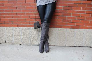 OOTD - Grey Boots and Leather