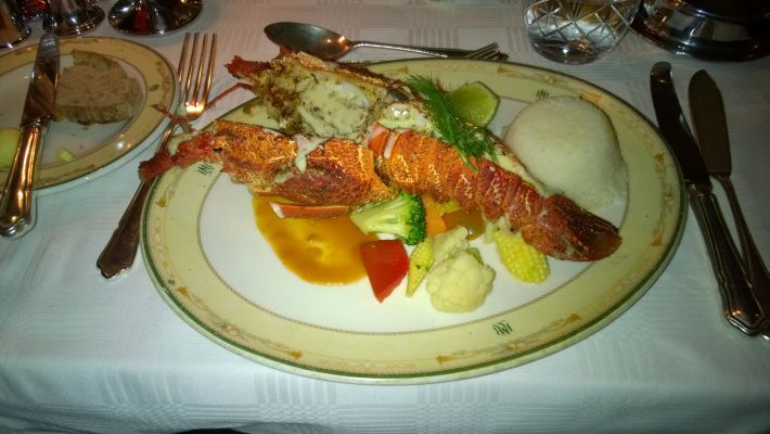 Cape rock lobster tails served on Rovos Rail, a luxury train experience in South Africa and beyond