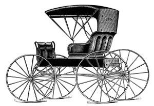 vintage horse buggy clip art, black and white clipart, antique horse carriage image, old catalogue ad, automobile seat top buggy illustratio...