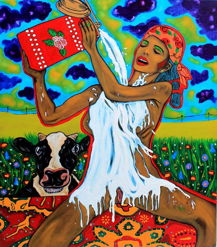 Milk! Make me white! oil on canvas, 100/120cm, 2016