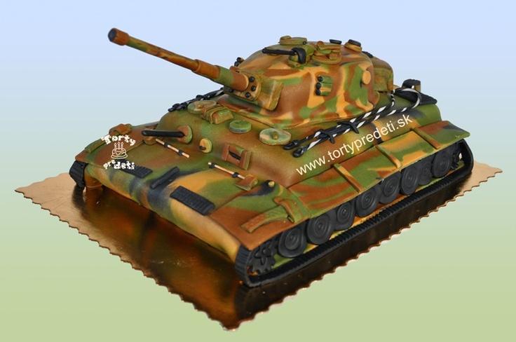 Cake tank. Torta tank Tiger velky, letna kamuflaz les.