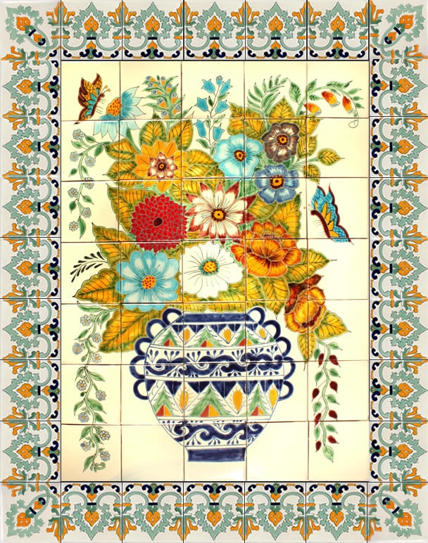 Mexican Tile - Vase and Flowers Handpainted Mexican Talavera Ceramic Tile Mural
