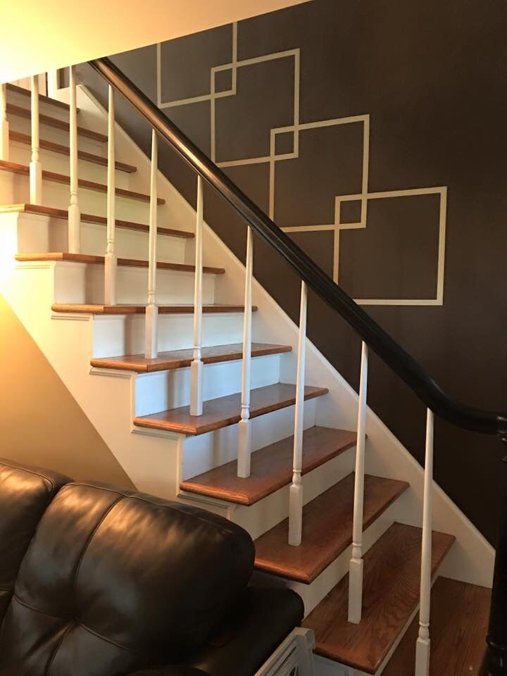 Stairway With An Accent Wall Paint The Wall With Base Color Tape | Stairs Wall Paint Design | Designer | Fancy | Beautiful | Staircase Railing Wood | Wall Colour