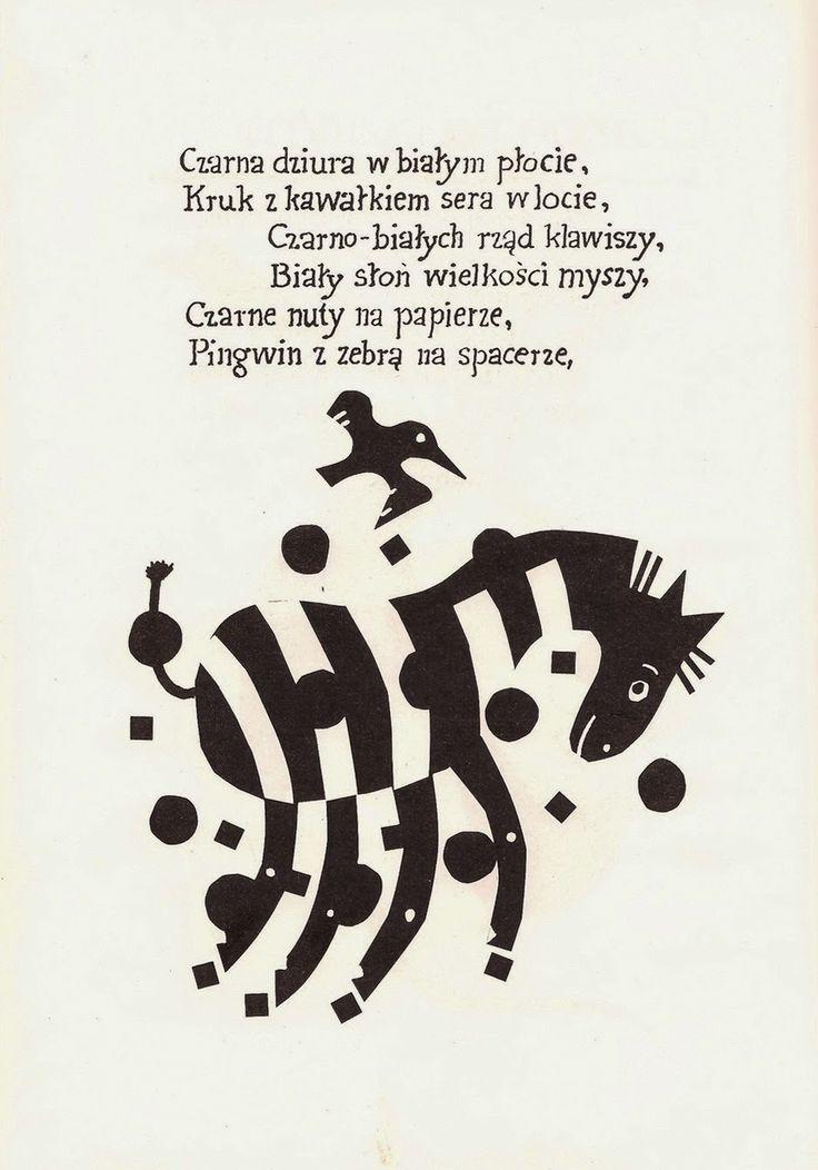 """""""Czarno na białym"""" de Marcin Brykczyński, illustré par Janusz Stanny."""