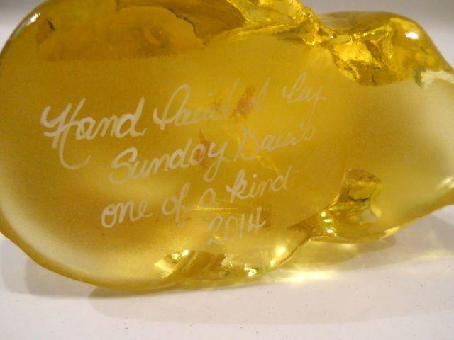 Fenton Buttercup Yellow HP Gardenia Perky Cat Store Ed Sunday Davis OOAK | eBay