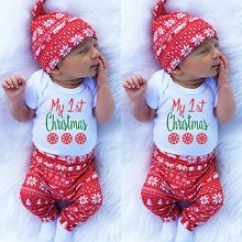 Christmas Clothes Baby Girl Boy Snowflake Romper Pants Leggings Hat Outfits Set Clothes Autumn Winter Baby Xmas Clothing(China (Mainland))