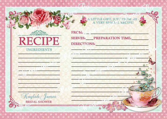 Tea Party, Bridal Shower, Kitchen Tea Recipe Card Shabby Chic Printable DIY