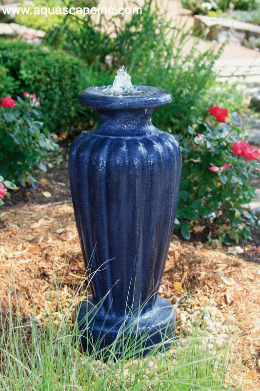 fountains in the garden, outdoor living, ponds water features, A classic blue urn for lends traditional elegance to a flowerbed