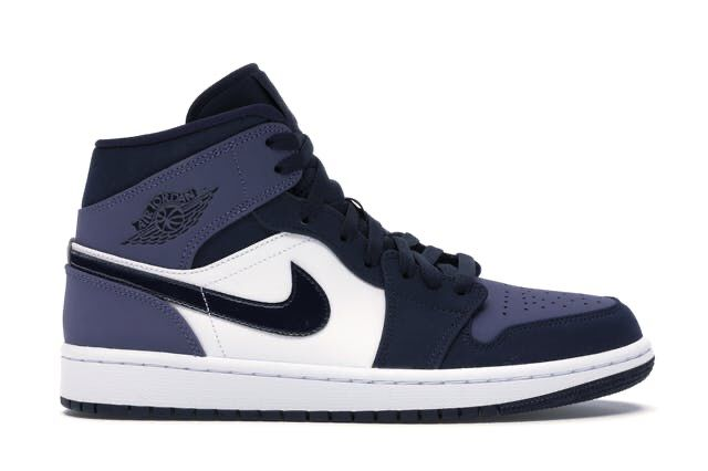 Check out the Jordan 1 Mid Obsidian Sanded Purple available ...