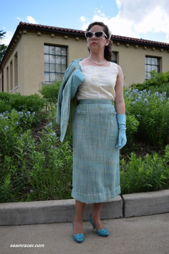 Year 1958 blouse and year 1956 pencil skirt, by Kelly at seamracer.com