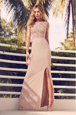 6c12240541 Nude Abbey Clancy x Lipsy Sequin Cornelli Artwork Maxi Dress ...