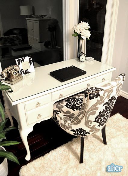 painted desk and upholstered chair from livingbeautifullydiy.blogspot.ca