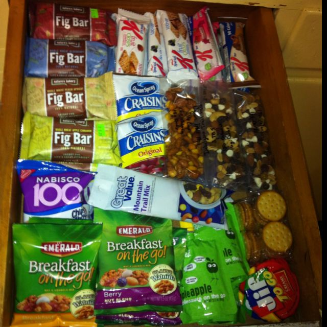 Snack drawer. Each thing is a 1-2 carb servings to help with my diet. Pack ready for when the road calls.