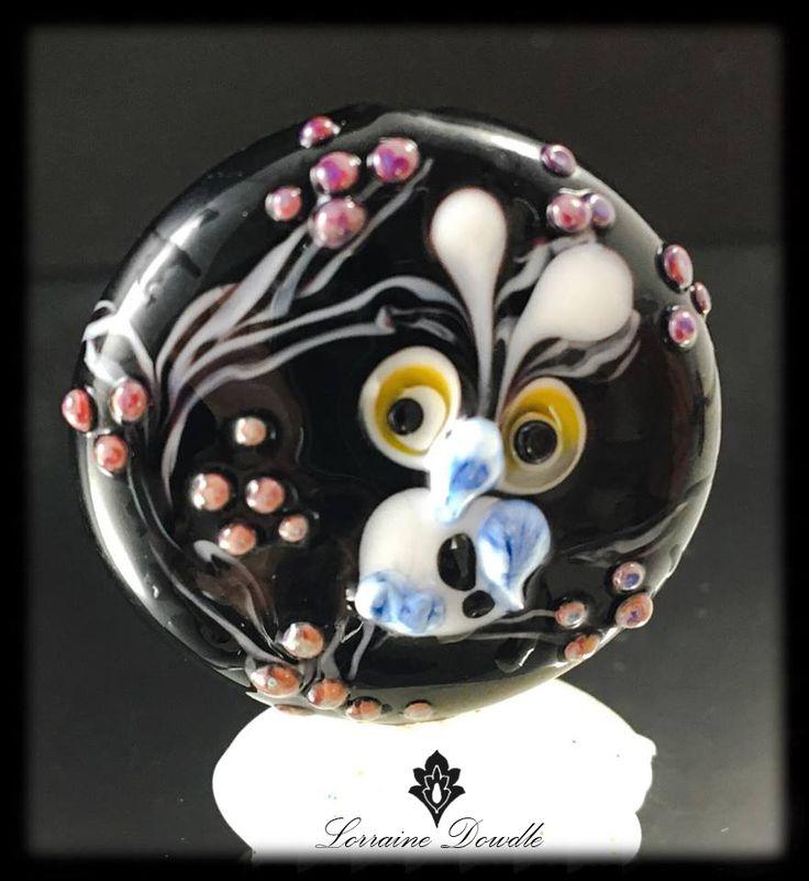Lorraine Dowdle - Focal Lampwork owl Bead