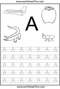 Letter Tracing Worksheets For Kindergarten – Capital Letters – Alphabet Tracing – 26 Worksheets