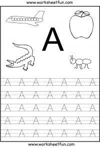 Letter Tracing Worksheets For Kindergarten – Capital Letters – Alphabet Tracing – 26 Worksheets