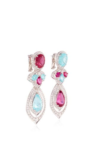 These **Vanleles** earrings feature exquisite diamonds and vibrant colored gemstones accented with the brand's signature motifs, which epitomizes the designer's ode to mother nature