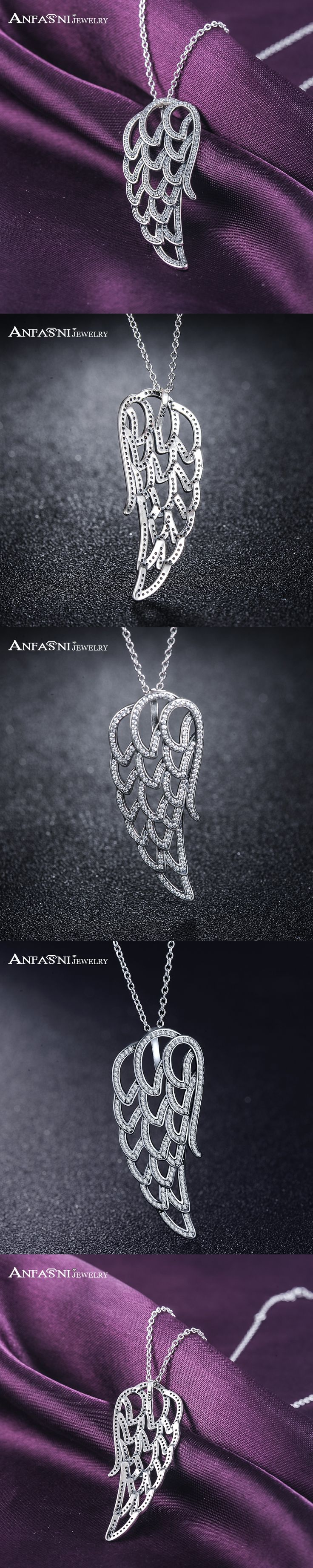 ANFASNI 49% Off High Quality 925 Sterling Silver Angel Wing Necklaces for Women With Clear CZ Jewelry Collares PSNL0016-B