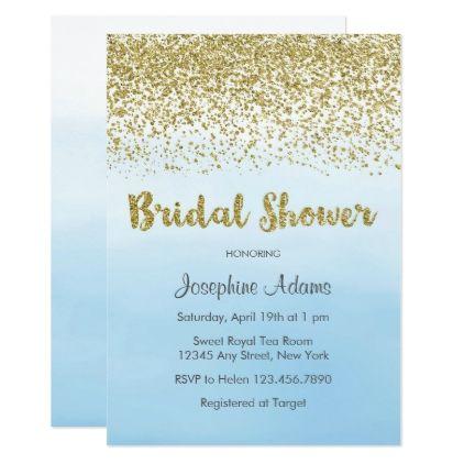 7347620b54d4 Blue and Gold Bridal Shower Invitation - invitations custom unique diy  personalize occasions