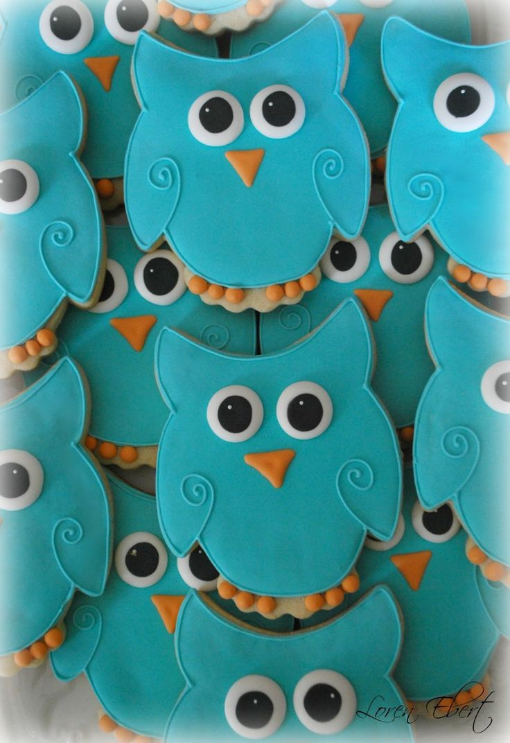 Owl decorated sugar cookies. Royal icing. Blue, orange, yellow, white, black.