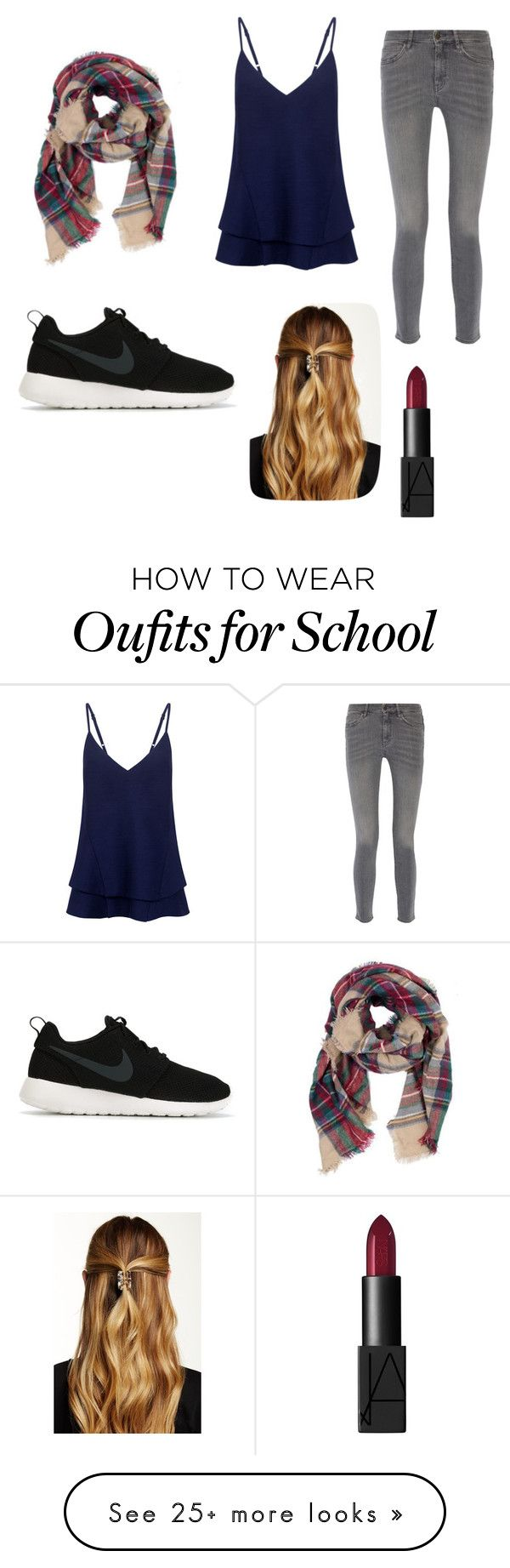 """Casual; school; cute"" by krasmussen2002 on Polyvore featuring C/MEO COLLECTIVE, MiH Jeans, NIKE, Natasha Accessories and NARS Cosmetics"