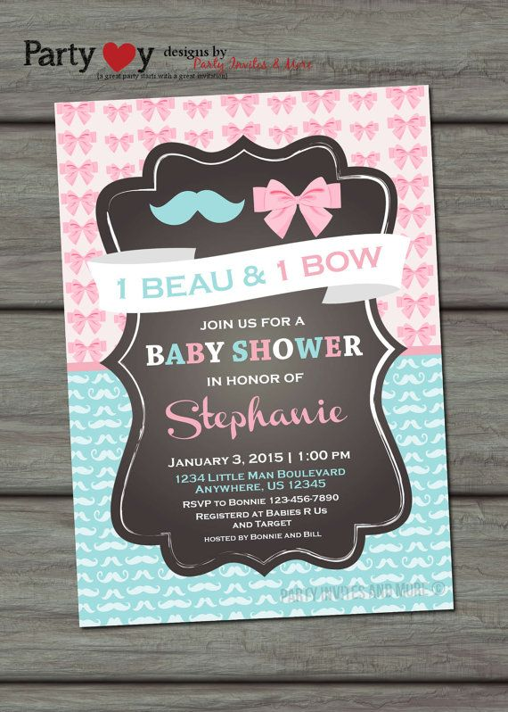 Twins Baby Shower Invitation Boy/Girl Baby by PartyInvitesAndMore