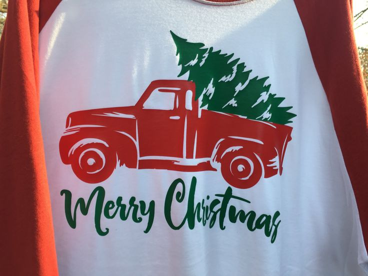 Christmas Tree Old Fashioned Truck Raglan Tshirt Red