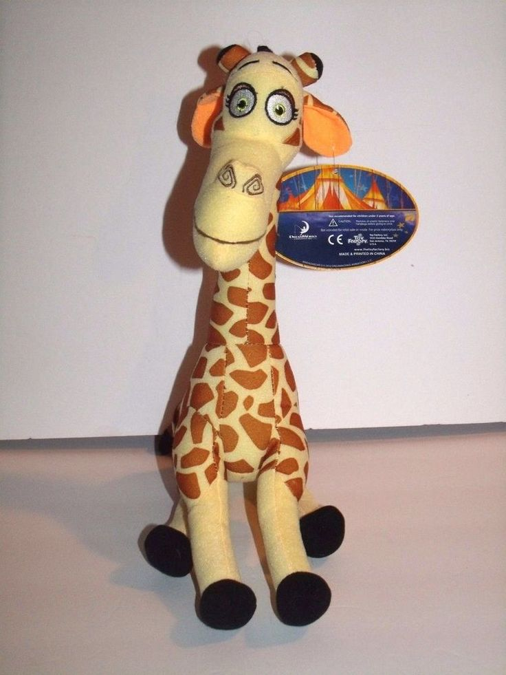 """Toy Factory Madagascar 3 Melman Giraffe Plush Tan Brown Spotted 12"""" NEW #ToyFactory"""