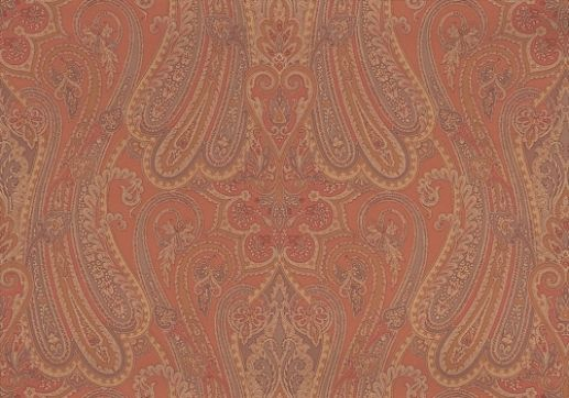 Mulberry Paisley (FG065V146) - Mulberry Home Wallpapers - A glamorous 'Heirloom Paisley' inspired by a magnificent Indian shawl. showing in Paprika - other colour ways available. Please request a sample for true colour match.