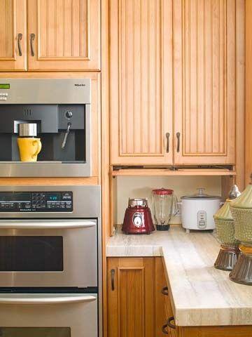 Appliance Garage - hideaway for kitchen appliances   hideaway for small appliances; Design it to have multiple outlets