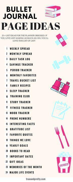 Dies ist eine perfekte Liste von Ideen für Bullet-Journalseiten, um mich zu inspirieren. Schau