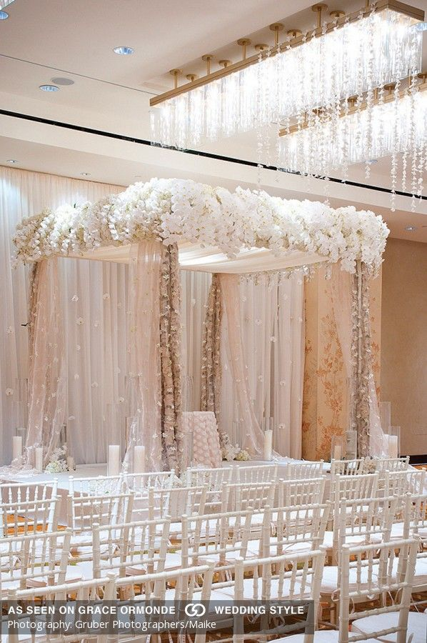 classic white floral chuppah luxury wedding ceremony decor