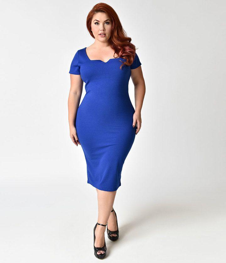 Unique Vintage Plus Size Royal Blue Short Sleeve Harris Knit Wiggle Dress