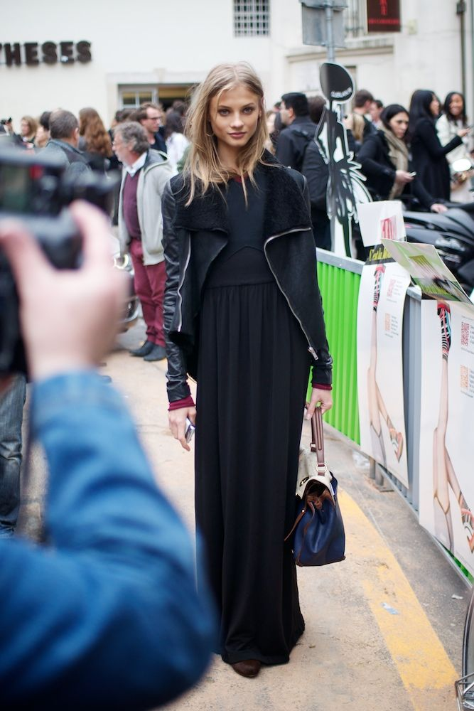 Dress + Jacket: Inspiration, All Black, Street Style, Dress Jackets, Black Maxi Dresses, Give Selezneva