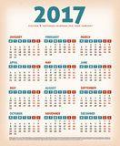 Calendario 2017 del diseño del vintage Imagen de archivo