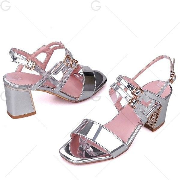 Buckle Straps Chunky Heel Sandals ($27) ❤ liked on Polyvore featuring shoes, sandals, silver shoes, thick heel sandals, wide heel sandals, chunky heel shoes and chunky heel sandals
