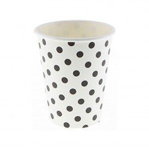 Χάρτινα ποτήρια πουά άσπρο/μαύρο Sambellina - 12 τμχ. - Sweebies - Είδη για πάρτι