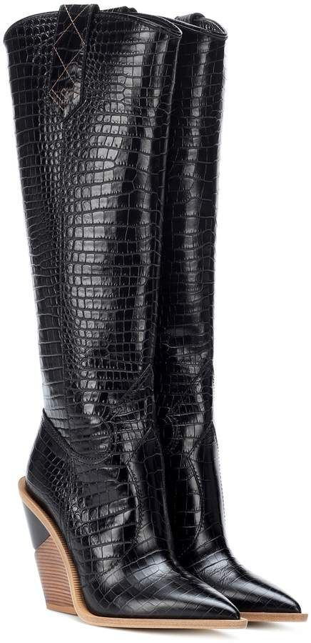 46c36f870732 Fendi Embossed leather cowboy boots