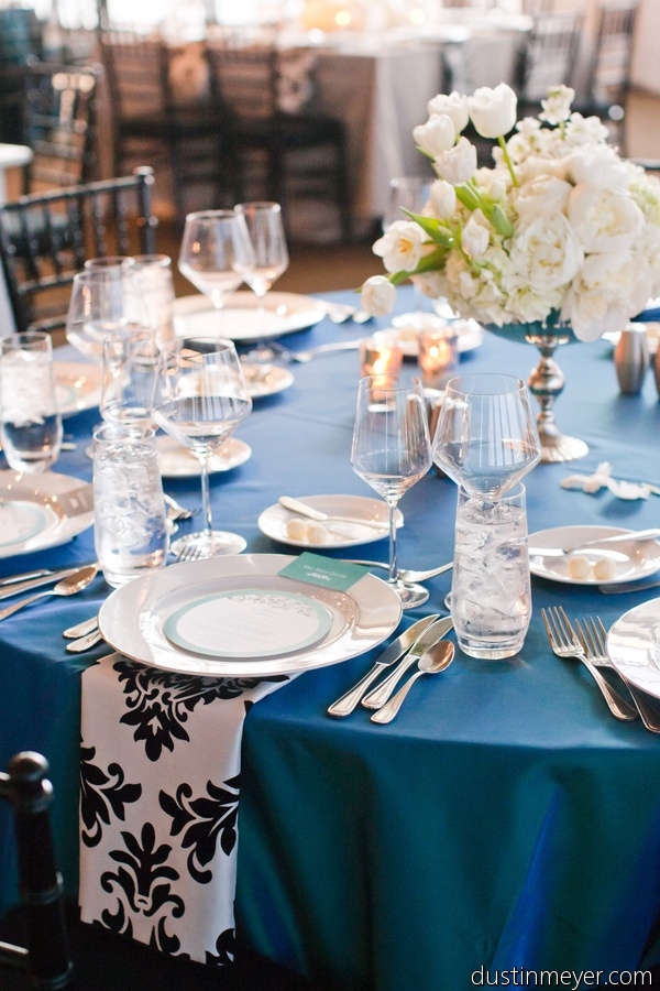 black and white damask and turquoise  teal blue decor by premiere party central  austin u0026 39 s wedding