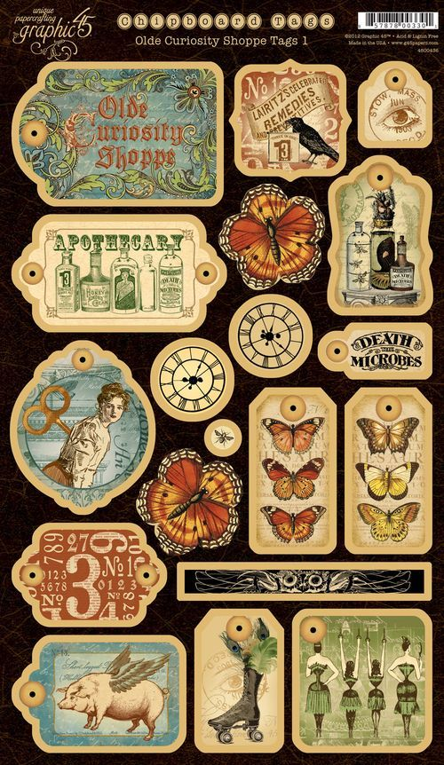 Olde Curiosity Shoppe Chipboard Die-Cuts 1! #newcollection #graphic45 #CHA: Vintage Paper, Tags Free, Graphics 45, Shoppe Chipboard, Vintage Tags, Printable Free Labels, Scrapbook Vintage, Vintage Alphabet Printable, Free Printable