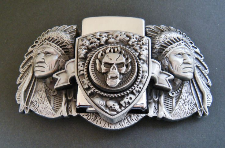 3-D Indian Chiefs North American Native Chief Flint Lighter Belt Buckle